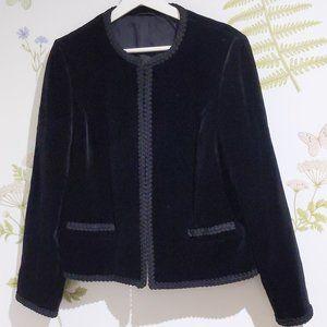 St-Michael Vintage black velvet cropped jacket